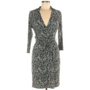 Ann Taylor 6 Petite Faux Wrap Dress Green Black